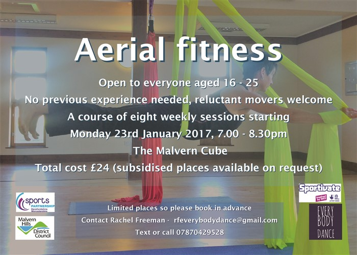 Aerial fitness at the Cube, Malvern